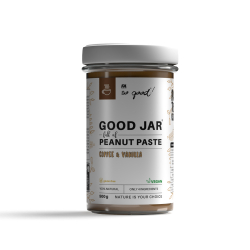 So good! GOOD Jar full of peanut paste with coffee and vanilla 500 g