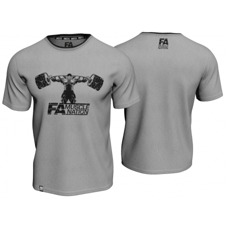 T-SHIRT DOUBLE NECK MUSCLE NATION GREY